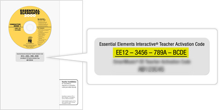 The activation code can be found on the lower right hand corner of the back of the Essential Elements book.